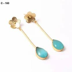 Golden Brass Fancy Earring