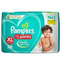Cotton Pampers XL Baby Dry Diapers, Packaging Size: 36 Pieces