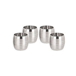Set Of 4 Designer Stainless Steel Glass