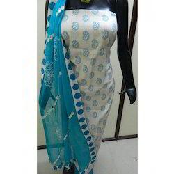 Unstitched Cotton Embroidered Salwar Kameez