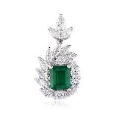 Real Diamond And Emerald Pendant