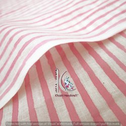 Pink Stripe Hand Block Print Natural Color Cotton Fabric