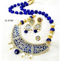 Cl Jewellery Royal Blue Chand Thewa Jewellery Necklace Fashion Jewellery Set