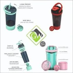 Protein Shaker Bottle With Plastic Mixer Ball