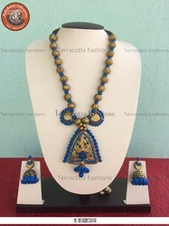 Terracotta Necklace In Gold, Blue And Black Colors (Set of 5)