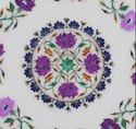 White Indian Marble Inlay Table Top