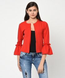 Red Casual Bell Sleeve Jacket