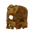 Sandalwood Hand Carved Elephant with Baby