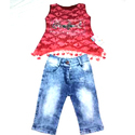 Kids Girls Sleeveless Top and Jeans
