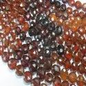 Brown Hessonite Gomed Faceted Coin Semi Precious Stone Bead Strands