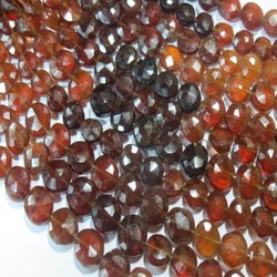 Hessonite Gomed Faceted Coin Semi Precious Stone Bead Strands