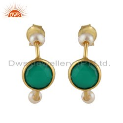 Green Onyx Pearl Gemstone Gold Plated Silver Hoop Earrings