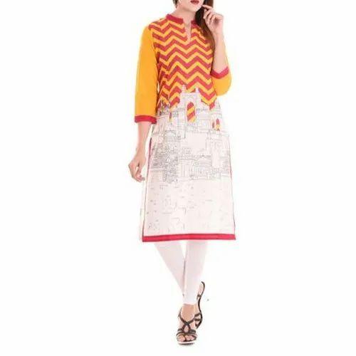 3/4th Sleeve Ladies Printed Cotton Kurti, Machine Wash,Hand Wash