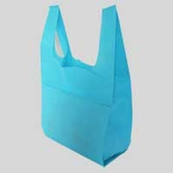Blue Plain U Cut Non Woven Bag