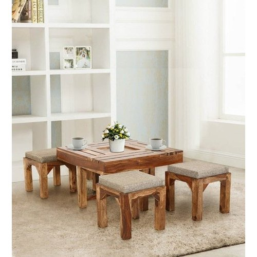 Brown Sheesham Wood Tyson Coffee Table With Four Stools By Trendsbee Rs 38124 Piece Id 20711900988