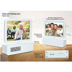 Clock With Rotating Dual Photo Frame, Battery