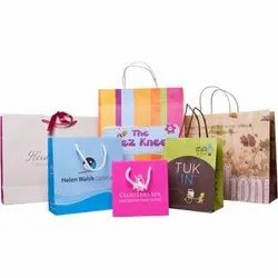 White fancy printed paper bag, For Shopping, Capacity: 1kg