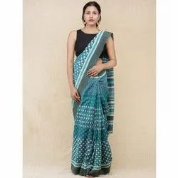 Cotton Casual Wear Hand Block Printed Saree, Machine Made, 6.3 m (with blouse piece)
