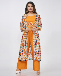 Fidaindia 3/4th Sleeve Rayon Print Crop Top with Jacket Machine Embroidery Kurti
