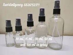 Clear glass bottle in black spray