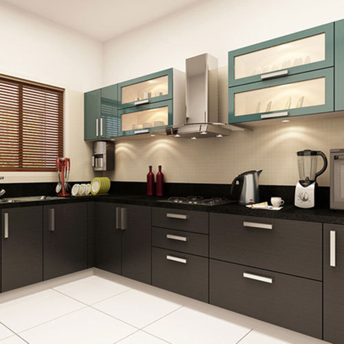 Kitchen Images Modular Kitchen Design Large Latest Designs: L Shape Modular Kitchen, एल आकार की मॉड्यूलर रसोई, एल शेप