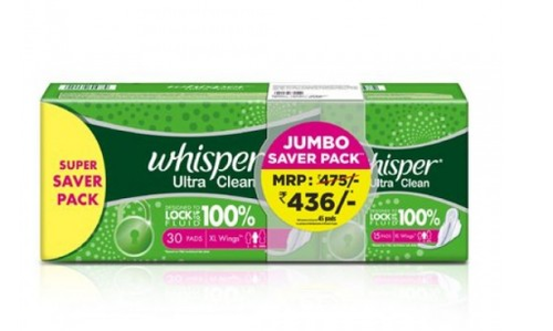 Whisper Ultra Clean Xl Wings at Rs 400 | Menstrual Pad | ID: 18999849388