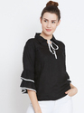 Ladies Rayon Black Frill Sleeve Top