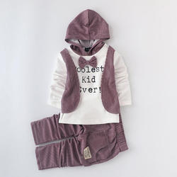 Hooded T-Shirt And Pant Set - Purple