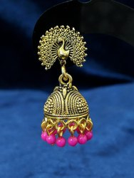 Black Oxidized Peacock Golden Jhumka