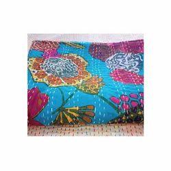 Wide Flower Printed Kantha Bedspread