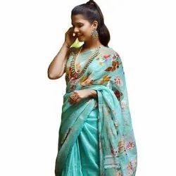 Soft Linen Partywear Silk Saree