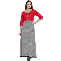 Floor Length Cotton Kurta In Red And Grey