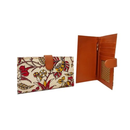 Cotton,Artificial Leather Ladies Floral Print Card Wallet, For Cards,Cash