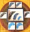 Multicolor Feather Design Wooden Tray With Tea Coasters