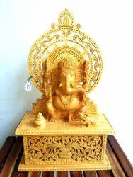 Wooden Sitting Ganesha With Cut Work