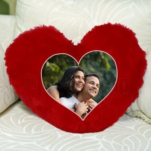 Fur Printed Heart Shape Red Cushion
