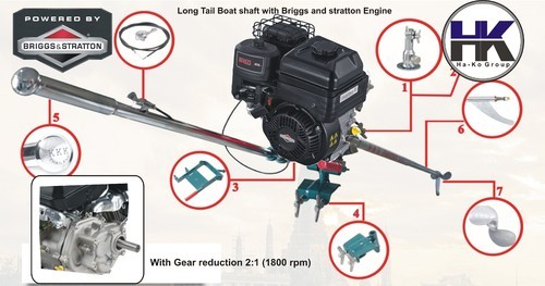 Outboard Boat Marine 208cc Engine With Long Tail Shaft