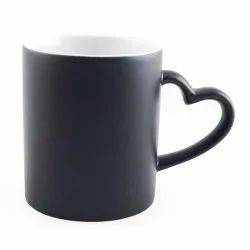 Plain Ceramic Heart Handle Magic Mug, For Gifting