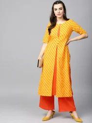 Cotton Yellow and Orange Printed Layered Kurta