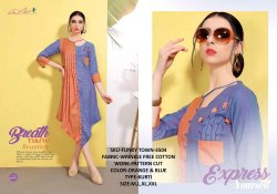 Rachna Wrinkle Free Cotton Pattern Cut Work Funky Town Catalog Kurti For Women 4
