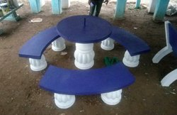 Blue, White RCC Dining Table And Bench