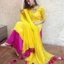 Yellow And Pink Rayon , Chiffon Ladies Embroidery Suit With Skirt And Dupatta, Size: S, M, L, Xl