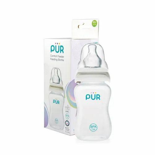 Plastic White Pur Comfort Feeding Slim Neck Bottle 4 oz/125ml