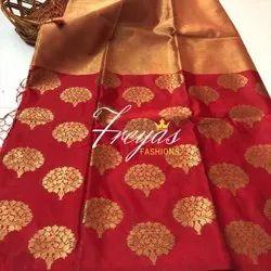 Freyas Fashions Party Wear Banaras Tissue Silk Saree, 6.3 m (with blouse piece)