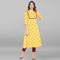Yellow Poly Crepe Kurta(JNE3430)
