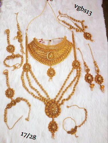 Party And Wedding Golden Wedding Necklace Set Indian Bridal Fashion