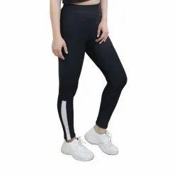 Craze Polyester Black Leggings With Stripes
