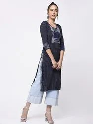 Yash Gallery Women's Cotton Straight Printed Kurta