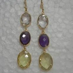 Natural Bezel Set Gemstone Earring