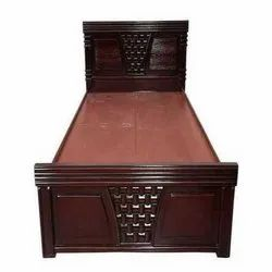 Modern Brown Wooden Single Bed, Size: 78*36 Inch